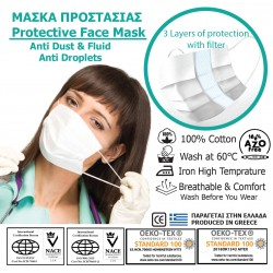 PROTECTIVE FACE MASK 100% COTTON WITH FILTER-3 LAYERS 2pcs